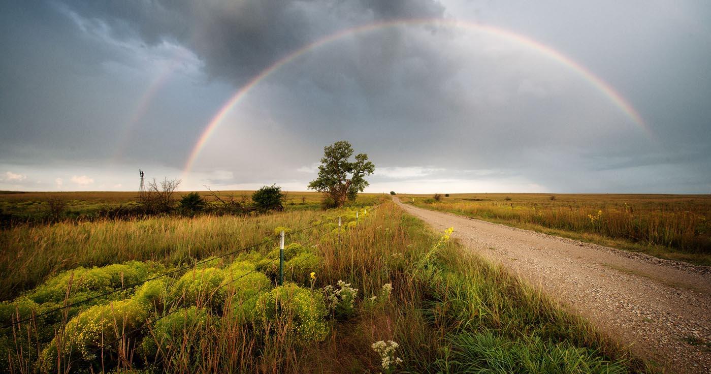 September morning rainbow