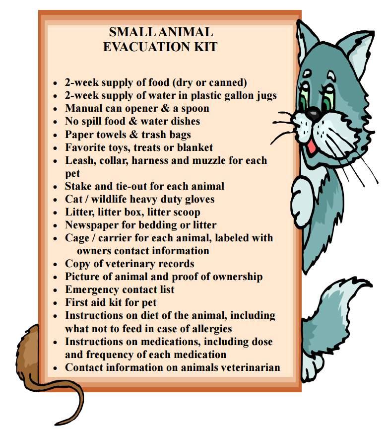 Small animal evacuation kit