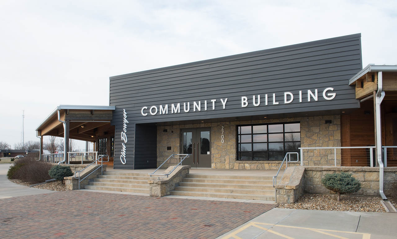 front of the Clint Boyer Community Building